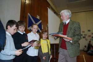 Dan presenting the books